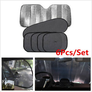 6 Pcs/set Car Front/ Back Windshield Side Window Sun Shade Sun Cover Block Cover