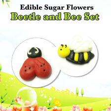 Cupcake Toppers 24 Pc Beetle and Bee Set  Edible Sugar Flowers Cupcake Boxes