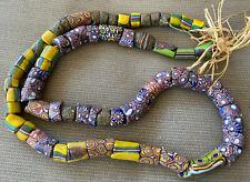 "Antique African Italian Trade Bead Necklace 70 Beads 25"" Colorful #22 Millefiori"