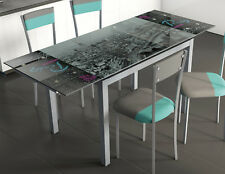Mesa extensible con serigrafiado sky parís en cristal templado 110x75x70 cm