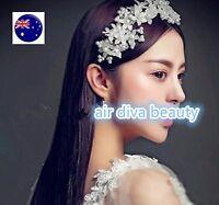 Women lady White Pearl Bride Crystal Flower Party Hair headpiece Headband Prop