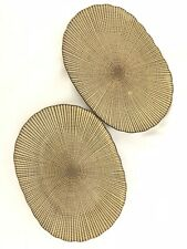 Sushi Plates Set of 2 Beige Brown Scallop Edge Oval Japan EUC HG260