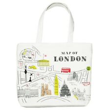 New White London Map Bus Big Ben Women Tote Bag Shoulder Bag Handbag Canvas