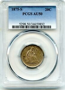 C11740- 1875-S TWENTY CENT PIECE PCGS AU50