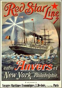 Red Star Line 1803 Anvers Classic Ocean Liner Travel Vintage Poster Print Art