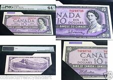 CUT and FOLD Error Banknote - Bank Of Canada  $10 1954 PMG 64-net - CERTIFIED