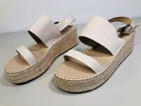 Just Fab Platform Wedge Sandals Women's Size 8 Natural White Canvas