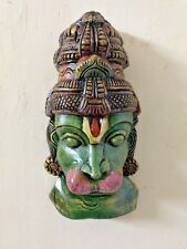 Lord Hanuman Head Bust Statue Wall Hanging Wooden Painted Sculpture Figurine