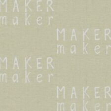 Maker Maker White on Natural Linen Cotton By the yard Andover Fabric