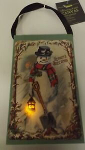 New Lighted Christmas Snowman With Lantern In Snow Ornament X47112 MWT