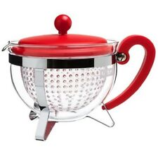 Bodum Chambord 8 Cup 1.0L Red Teapot 34oz Filter Brew Leaf Green Herbal Tea