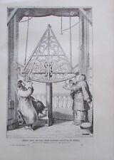 Johann Hevel seine Gattin beobachten die Gestirne - Originaldruck aus ca 1906