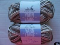 Stone lot of 2 DMC Nordic Spirit Aurora wool blend roving yarn 33 yds ea