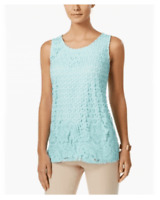 Charter Club Mint Sleeveless Aqua Mixed Lace-Front Top - Mint Aqua