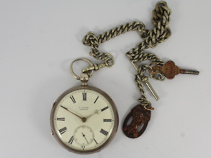 Antique Pocket Watch Sterling Silver Albert Chain St Andrews Ambulance Fob Jc92