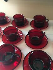 6 Vintage sets Arcoroc ruby red Cups mugs Saucers coffee tea France