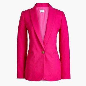 NWT J. Crew Hot Pink Linen-Cotton Blazer Size 4 NEW BEGONIA