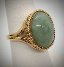 Celadon Aventurine Oval Cab Solitaire Ring Sz 6.25 in 14KYG Setting by Sanuk, 6g