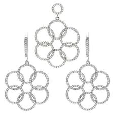 925 Sterling Silver 5.04 Carat CZ Interlocking Loops Pendant and Earring Set