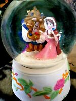 BEAUTY & BEAST WITH BIRDS,IN SNOW, SCHMID ROTATING MUSICAL SNOW GLOBE, NEW, MINT
