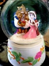BEAUTY & BEAST WITH BIRDS,IN SNOW, SCHMID ROTATING MUSICAL SNOW GLOBE, NEW w/TAG
