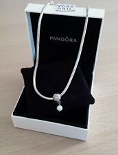 Pandora Silver Necklace+Pearl Of Wisdom Dangle Clip 46cms Long    READ LISTING