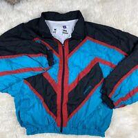 Vintage Color Block White Stag Retro 90's Windbreaker Sweater Lined L Large ?EUC