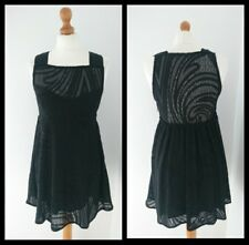Free People Black Lace Mini Skater Dress Size Small S UK 8 10 | Semi Sheer