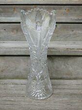 "New ListingAmerican Briliant Cut Glass 14"" Corset Vase Peacock Pattern W Hobstars Nice!"