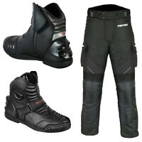 Men Motorcycle Leather Waterproof Boots Armoured & Cordura Fabric Trouser Pant