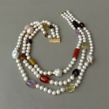 """19"""" 3 rows Cultured White Pearl Keshi Pearl Multi Gemstone Necklace"""