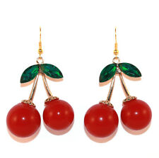 Cherries Earrings Red Gold Cherry Kitsch Rockabilly 50s Vintage Retro Fruit Gift