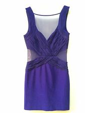 Lipsy Bodycon Ruched Mesh Super Sexy Dress 8 Purple Plunge V Neck Party Club
