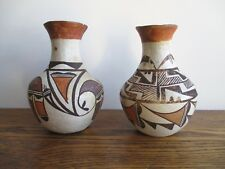 Pair of Vintage Acoma Pottery New Mexico Navajo Polychrome Vases Pre-war-1940s