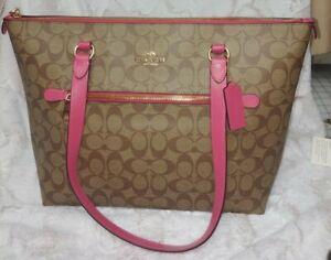 NWT COACH AUTH Signature Gallery Tote Pink Khaki Handbag
