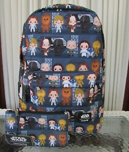 Star Wars Loungefly Chibi Backpack & Pouch Full Size School Bag Disney NWT