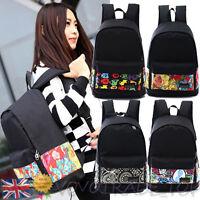 Ladies Girls Boys Backpack Canvas Rucksack School Bag Leisure Travel Rucksack UK