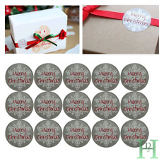 105 Round Labels 'MERRY CHRISTMAS' Snowflake Gift Seal Xmas Present Stickers UK