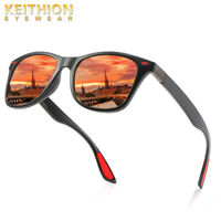 KEITHION TR-90 Polarized Sunglasses Mens Womens Square Driving Mirrored Glasses