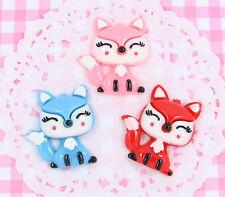 6 x Cute Winter Fox Flatback Cabochon Embellishments Kawaii DIY Craft Decoden