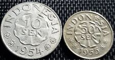 1954, 1955 Indonesia 10 cent & 20 cent (10 sen & 20 sen) (+FREE 1 coin) #D1771