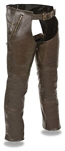 MOTORCYCLE MENS RIDERS PANT RETRO BROWN FOUR POCKET THERMAL LINED LEATHER CHAP
