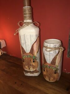 Beautiful Handmade Decoupage Bunny Bottle  Light, Vase Set, Easter, Unique