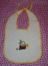 Handmade White Cross Stitch Easter Bib w/Yellow Edging - from 1980s - VINTAGE