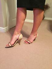 Dolcis Slip On Heels Uk 6 Crema Rosso Tessile tacco legno