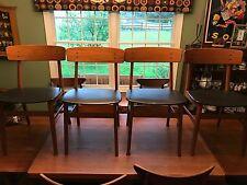4 Vintage Mid Century Danish Modern Teak Wood Farstrup Dining Chairs - Great!
