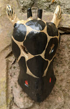 Giraffe Mask Small Wooden Wall Hanging Hand Carved