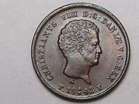 Unc 1842 (o) FF Denmark 1/5 Rigsbank Shilling (Die Break!). #25