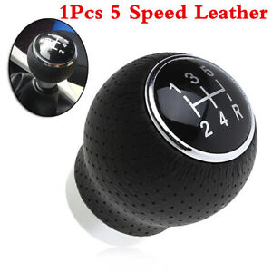 Black Leather Manual Automobile 5-Speed Gear Stick Shift Knob Shifter Lever Kit