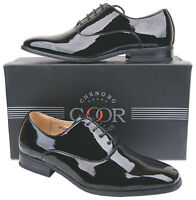 Mens New Black Shiny Patent Formal Evening Shoes Free UK Shipping